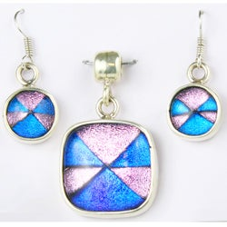 Sterling Silver Pink and Blue Dichroic Glass Pendant and Earring Set (Mexico)