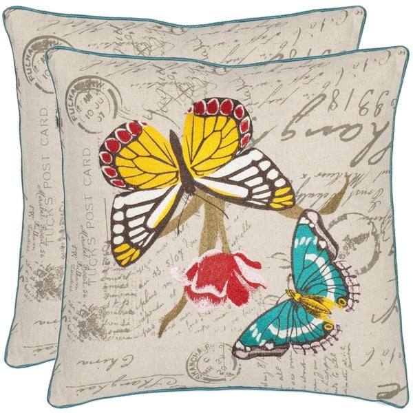 Safavieh Butterfiles 18-inch Cream Decorative Pillows (Set of 2)