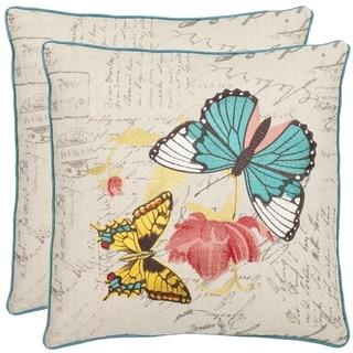 Butterflies 18-inch Cream Decorative Pillows (Set of 2)