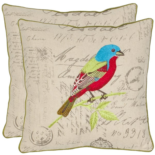 Safavieh Bird 18-inch Cream Decorative Pillows (Set of 2)