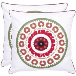 Celebrations 18-inch White/ Red Decorative Pillows (Set of 2)