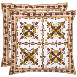 Safavieh Suzani 18-inch White/ Beige Decorative Pillows (Set of 2)