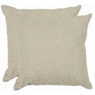 Emboroidery 18-inch Cream Decorative Pillows (Set of 2)