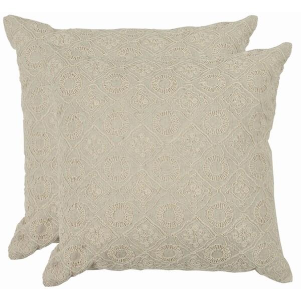Safavieh Emboroidery 22-inch Cream Decorative Pillows (Set of 2)