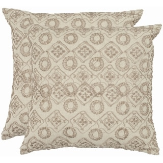 Emboroidery 18-inch Stone/ Cream Decorative Pillows (Set of 2)