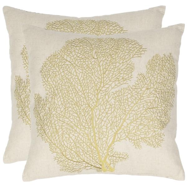 Safavieh Reef 18-inch Beige/Gold Decorative Pillows (Set of 2)