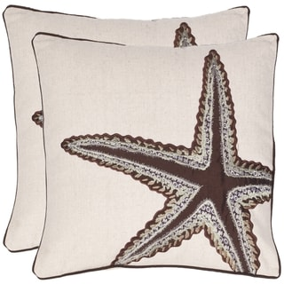 Starfish 18-inch Beige/ Brown Decorative Pillows (Set of 2)
