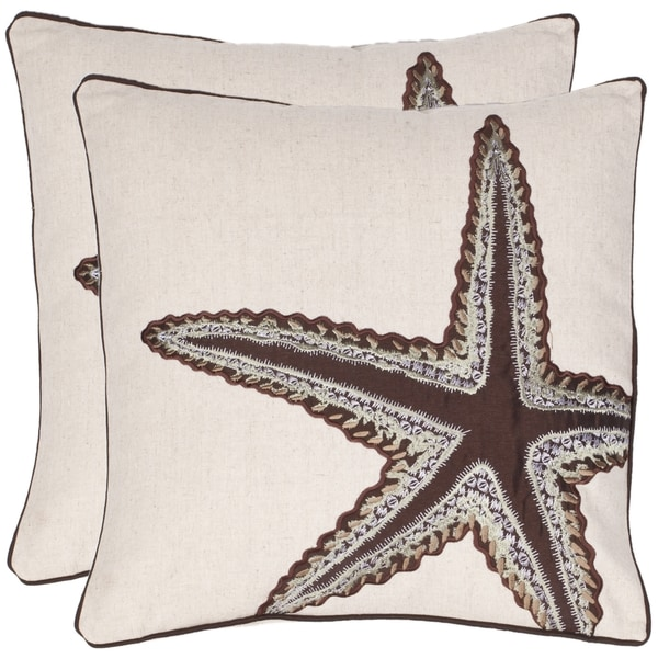 Safavieh Starfish 18-inch Beige/ Brown Decorative Pillows (Set of 2)