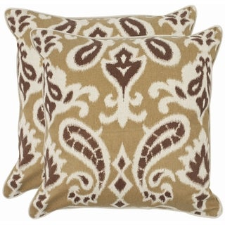 Safavieh Paisley 22-inch Brown Decorative Pillows (Set of 2)
