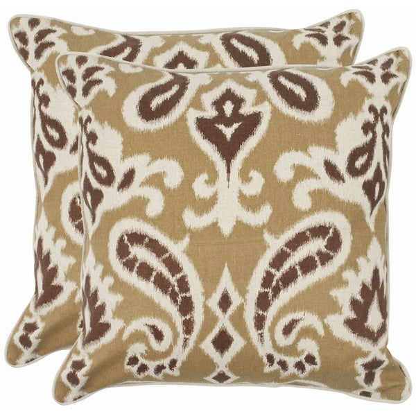 Safavieh Paisley 22-inch Brown Decorative Pillows (Set of 2)