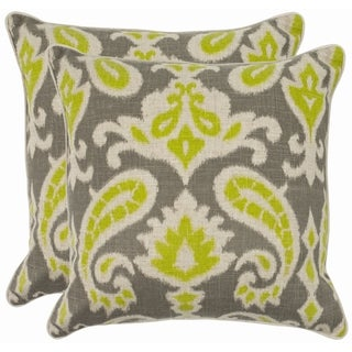 Safavieh Paisley 18-inch Grey/ Lime Decorative Pillows (Set of 2)
