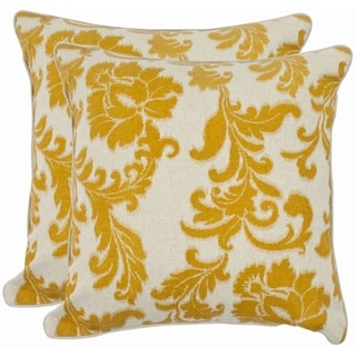 Safavieh Acanthus Leaves 18-inch Ivory/ Apricot Decorative Pillows (Set of 2)