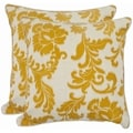 Acanthus Leaves 18-inch Ivory/ Apricot Decorative Pillows (Set of 2)