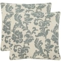 Acanthus Leaves 18-inch Ivory/ Slate Blue Decorative Pillows (Set of 2)