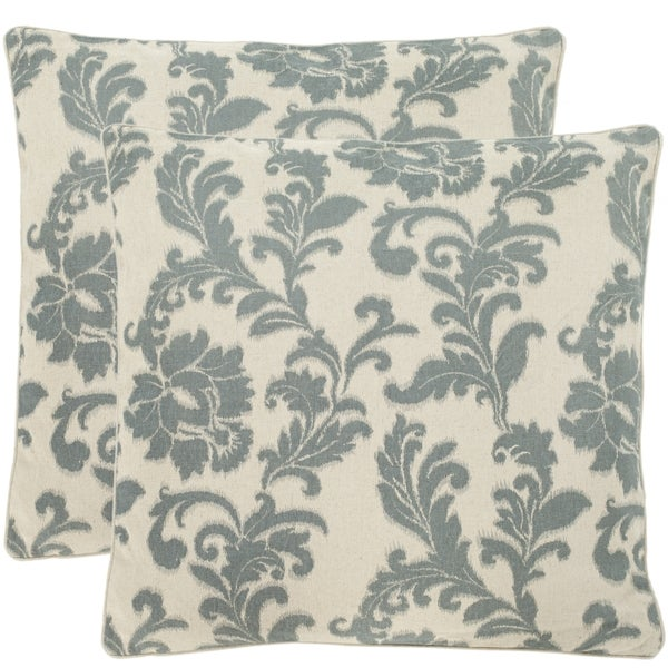 Safavieh Acanthus Leaves 18-inch Ivory/ Slate Blue Decorative Pillows (Set of 2)