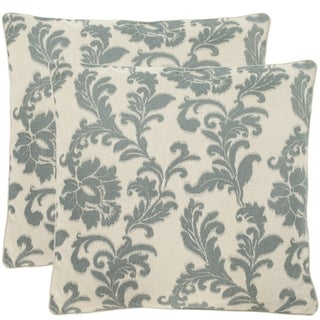 Acanthus Leaves 22-inch Ivory/ Slate Blue Decorative Pillows (Set of 2)