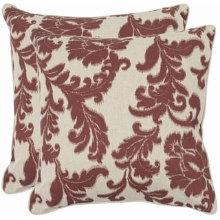 Safavieh Acanthus Leaves 18-inch Ivory/ Bordeaux Red Decorative Pillows (Set of 2)
