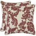 Acanthus Leaves 22-inch Ivory/ Bordeaux Red Decorative Pillows (Set of 2)