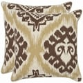 Damask 22-inch Beige/ Almond Brown Decorative Pillows (Set of 2)