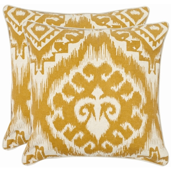 Safavieh Damask 18-inch Beige/ Saffron Yellow Decorative Pillows (Set of 2)