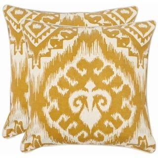 Safavieh Damask 22-inch Beige/ Saffron Yellow Decorative Pillows (Set of 2)