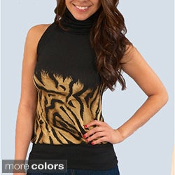 Madison Paige Women's Animal Print Knit Sleeveless Turtleneck Top