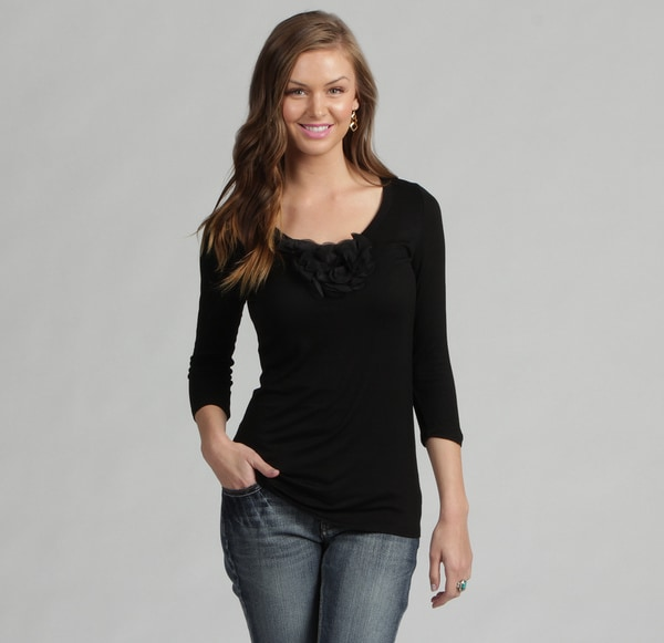 Think Knit Women's Black Floral Embellishment Top