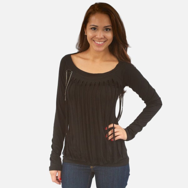 Madison Paige Women's Black Tattered Knit Top