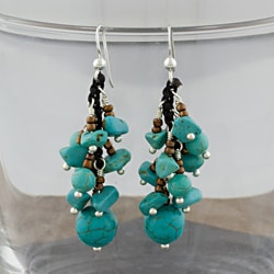 Reconstructed Turquoise Beads Silver Cluster Earrings (Thailand)