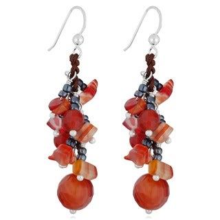 Red Agate Beads Silver Cluster Earrings (Thailand)