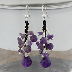 Amethyst Beads Sterling Silver Dangle Earrings (Thailand)
