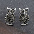 Marcasite Pave Sterling Silver 'Owl' Earrings (Thailand)