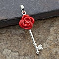 Red Resin Sterling Silver Flower Key Pendant (Thailand)