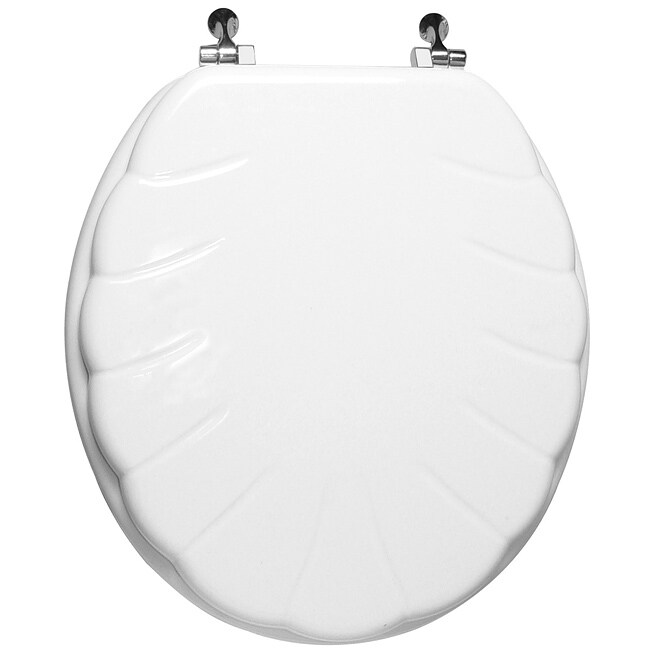Trimmer engraved shell design wood toilet seat 14606836 overstock shopping big discounts - Toilet seats design ...
