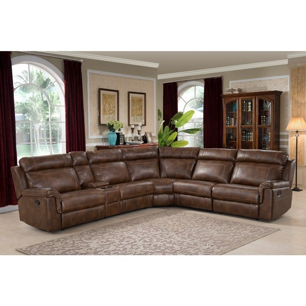 Nicole Brown Large 6-piece Family Sectional with 3 Recliners, Cup Holders, and Convenient Storage Console 9587141