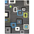 Studio 607 Geometric Design Charcoal Area Rug (5' x 7')