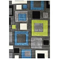 Studio 601 Geometric Square Design Charcoal Area Rug (5' x 7')