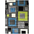 Studio 601 Geometric Square Design Charcoal Area Rug (5' x 7')