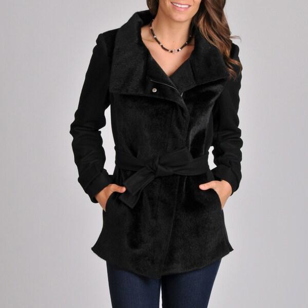 Betsey Johnson Women's Black Faux Fur Mix Media Short Coat