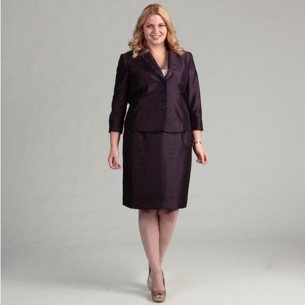 Tahari ASL Women's Plus Plum Skirt Suit