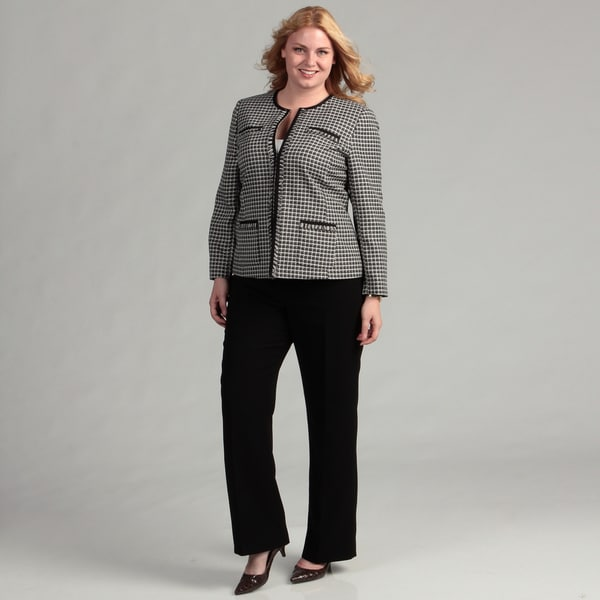 Tahari ASL Women's Plus Novelty Pant Suit FINAL SALE