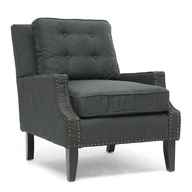 Baxton Studio Norwich Dark Gray Linen Lounge Chair