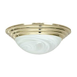 Two-Light Polished Brass Flush Mount