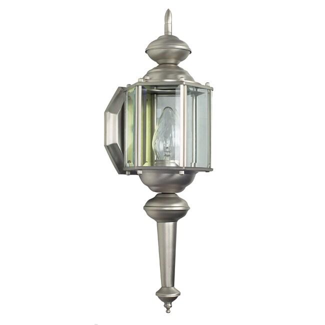 One Light Satin Nickel Wall Lantern