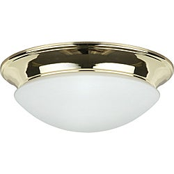 Two Light Polished Brass Twist on Opal Flush Mount