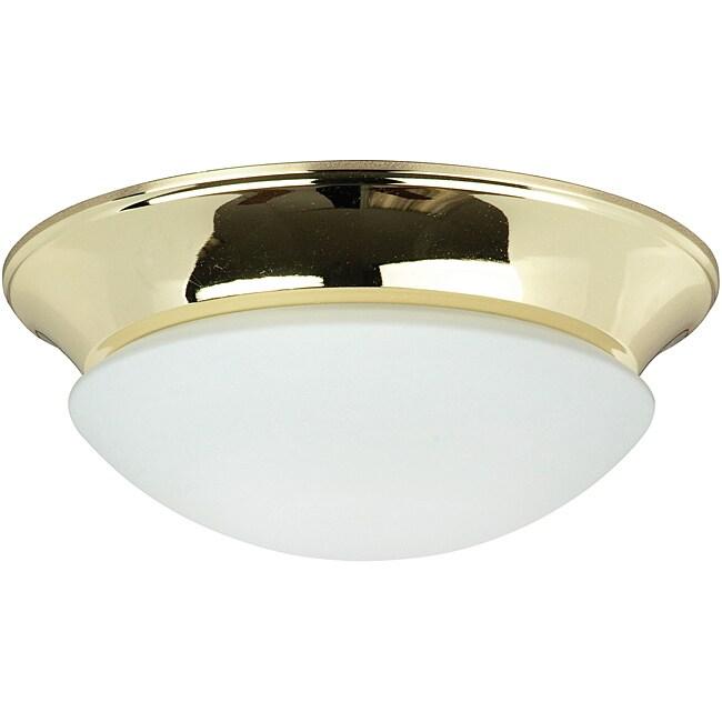 One Light Polished Brass Twist on Opal Flush Mount