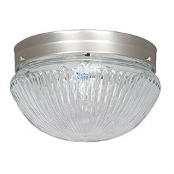 Two-Light Flush Mount with Satin Nickel Finish
