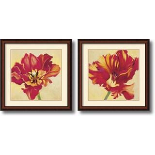 Jennifer Hollack 'Tulipan Pair' Framed Art Print Set 27 x 27-inch (Each)