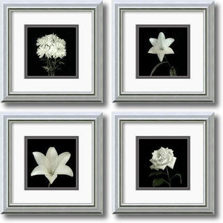Walter Gritsik 'Flower Series: Silver' Framed Art Print Set 12 x 12-inch (Each)