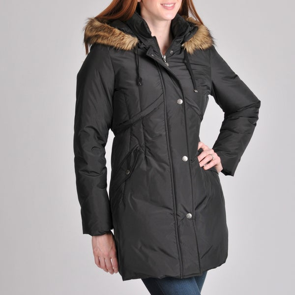 Betsey Johnson Women's Black Down-filled Coat with Faux Fur Hood